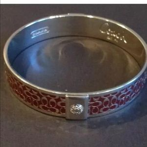 COACH Signature Bangle Bracelet Dark Purple Silver